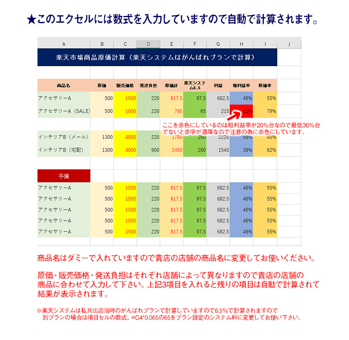 楽天商品原価計算表エクセル画面説明入り